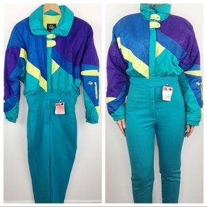 90's Vintage ski jump suit Roffe bright colors